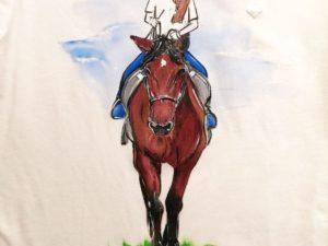 Tricou personalizat (pictat manual) - Fetita pe cal - Piticool ART
