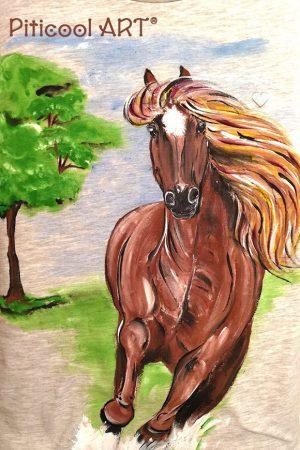 Tricou personalizat (pictat manual) pentru copii Cal primavara