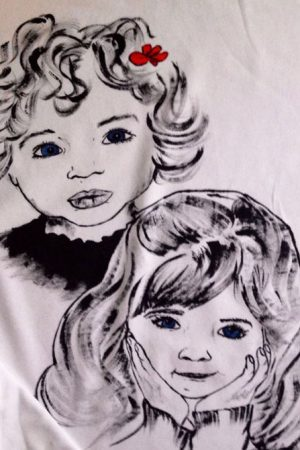 Tricou pictat manual caricatura - surori