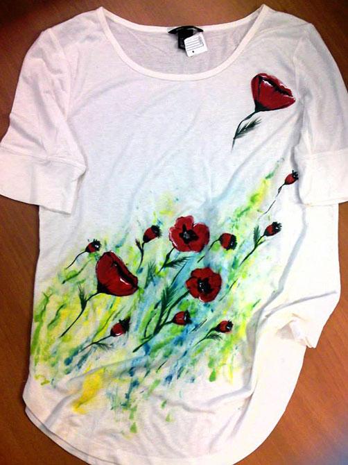 Tricouri pictate pentru adulti Maci. Tricou pictat manual dupa modelul ales de client, culorile sunt dedicate pentru material textil si pictura rezista la spalari repetate.