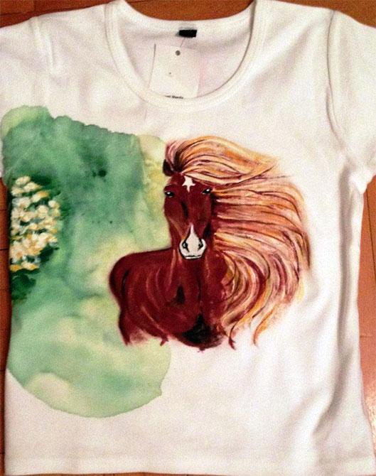 Tricouri pictate pentru copii Cal primavara