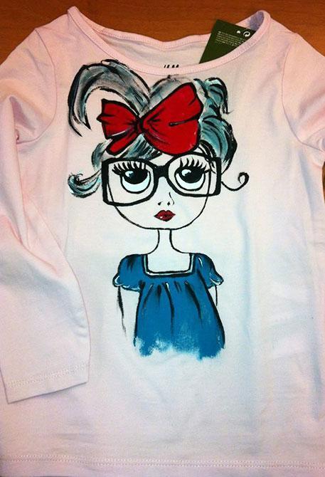 Tricouri pictate pentru copii Fetita cu ochelari