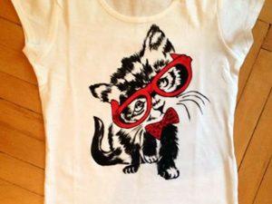 Tricouri pictate pentru copii Pisica buclucasa