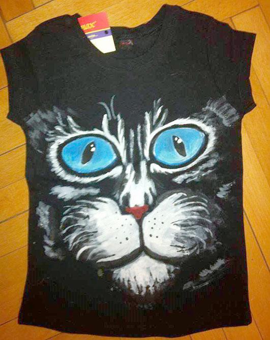 Tricou pictat pentru copii Pisica neagra 2