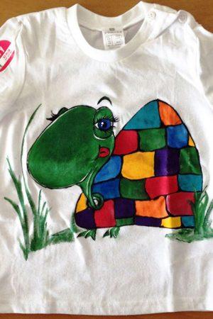 Tricou pictat pentru copii Broasca testoasa