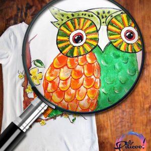 Tricou cu Bufnita pictat manual detaliu