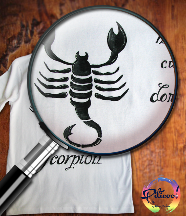Scorpion tricou pictat manual