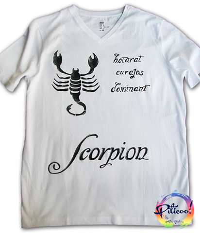 Scorpion negru tricou pictat manual
