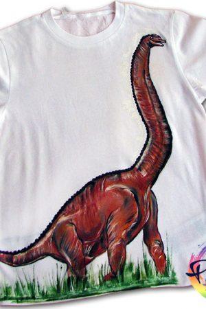 Tricou pictat pentru copii Dinozaur