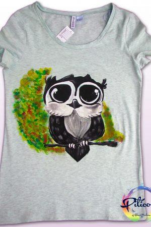 Tricou pictat cu bufnita pentru adulti
