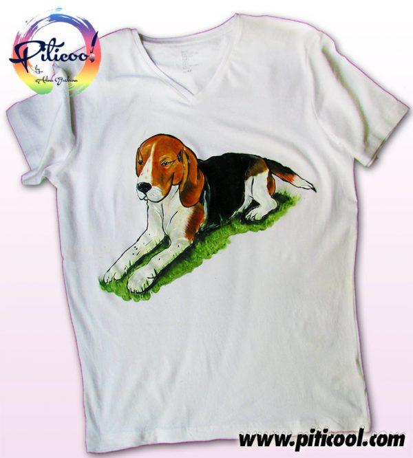 Tricouri personalizate Caine Beagle pictat manual