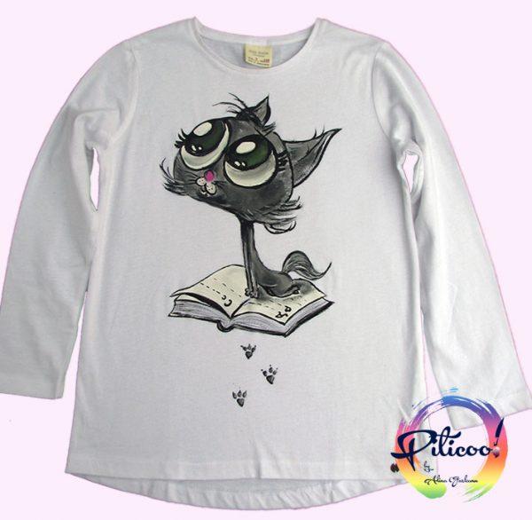 Pisicuta Tricou pictat manual pentru copii