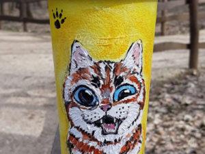 Pahar personalizat (portabil), pictat manual - Pisica g