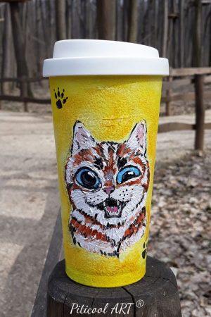 Pahar personalizat (portabil), pictat manual - Pisica