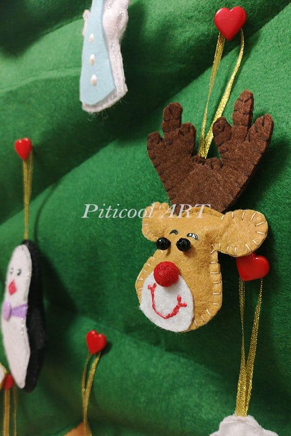 Decoratiuni pentru Brad de Craciun din fetru - Jucarii senzoriale handmade