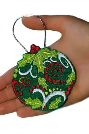 Ornament glob (din fetru, brodat) pentru brad de Craciun